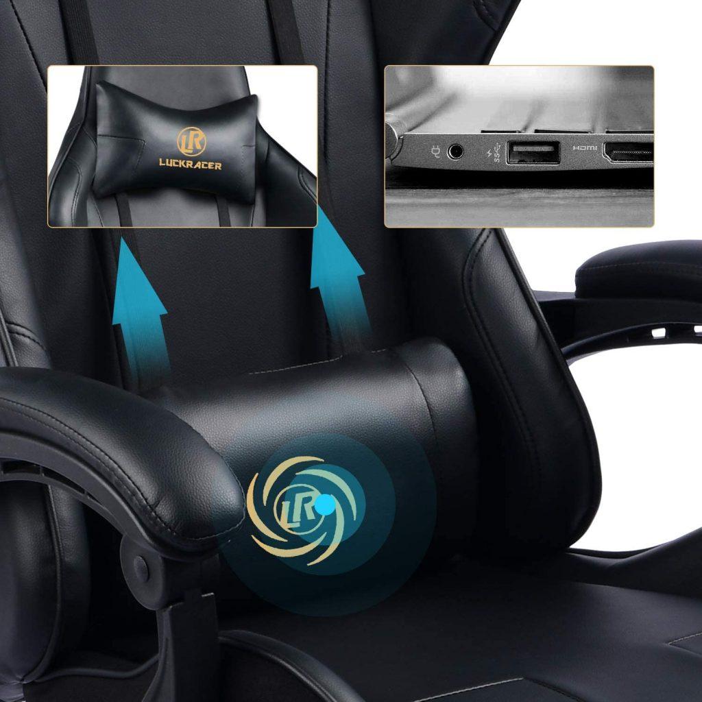 LUCKRACER Chaise Gaming Fauteuil de Bureau Chaise de Massage Lombaire Pivotante avec Repose-Pieds et Accoudoirs au Style de Course