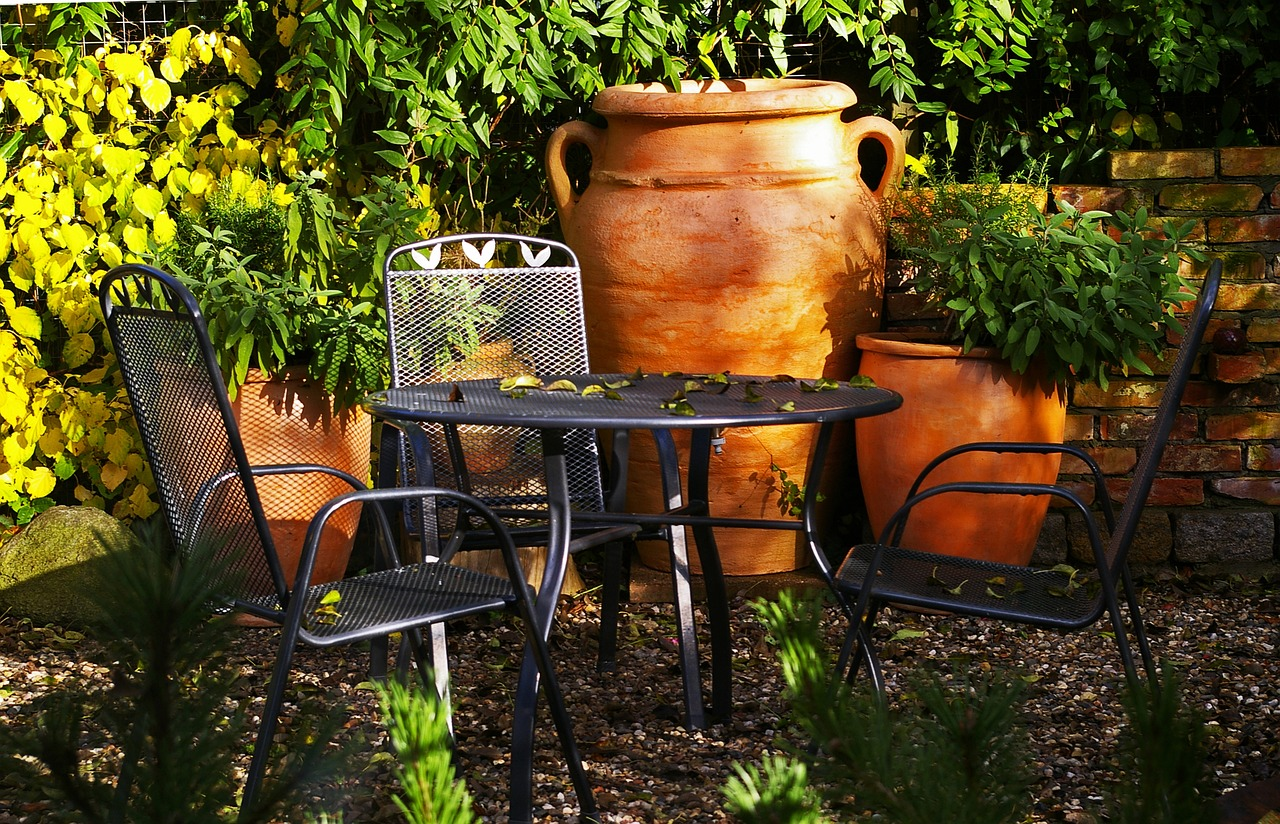 Salon de jardin métallisé